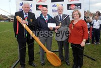Presseye Ltd Northern Ireland 6th May 2012. Mandatory Credit - Photograph by Declan Roughan / Presseye. Carrick Rugby 7\'s Tournament - 6th May 2012. Gerry Simms, President CRFC, Jimmy Burns, Mayor Jim McClurg and Myoress Lynn Mc Clurg presenting Jimmy Burns with the wooden spoon.