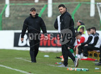 Danske Bank Premiership, The Oval, Belfast, Northern Ireland. 1/5/2021. Glentoran vs Linfield FC . Glentoran Head Coach Michael McDermott   and Linfield manager David Healy  . Mandatory Credit INPHO/Presseye/Brian Little