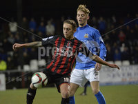 Press Eye - Northern Ireland -12th February 2016. Photograph:Presseye /Stephen Hamilton. Danske Bank Irish premier league match betweeen Crusaders and Glenavon at Seaview Belfast.. Crusaders Mathew Snoddy in action with Glenavons Mark Sykes
