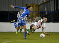 Bet Mclean league cup 3rd round . 8th October 2019. Coleraine  v Glentoran ay Ballycastle road, Coleraine. Coleraines Jamie G;ackin in action with Glentorans Thomas Byrne. Mandatory Credit INPHO/Stephen Hamilton.