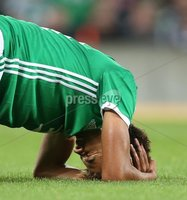PressEye-Northern Ireland- 11th September  2018-Picture by Brian Little/ PressEye. Northern Ireland  Jamal Lewis receives a head injury against Israel     during  Tuesday\'s  Friendly International Challenge match at the National Football Stadium at Windsor Park.. Picture by Brian Little/PressEye .