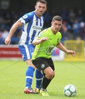 Danske Bank Premiership, Showgrounds, Coleraine 4/8/2018. Coleraine vs Warrenpoint. Coleraine\'s Eoin Bradley and Warrenpoint\'s Seanna Foster. Mandatory Credit ©INPHO/Lorcan Doherty