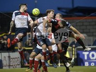 . Danske Bank Premiership, Seaview, Belfast 13/1/2018. Crusaders vs Ards. Crusaders Colin Coates  in action with Ards Callum Byers . Mandatory Credit ©INPHO/Stephen Hamilton
