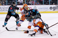 Press Eye - Belfast -  Northern Ireland - 06th January 2019 - Photo by William Cherry/Presseye. Belfast Giants\' Dustin Johner with Sheffield Steelers\' Jonas Westerling during Sunday afternoons Elite Ice Hockey League game at the SSE Arena, Belfast.    Photo by William Cherry/Presseye