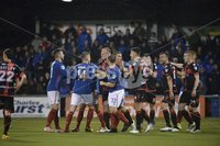 12th September 2017 . Danske Bank Irish premier league match between Crusaders and Linfield at Seaview.. Scuffles break out after Linfields Mark Stafford made comments to Crusaders captainColin Coates after scoring to bring it back to 2-1..  Photo by Stephen Hamilton /Inpho