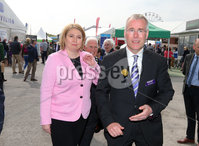 Press Eye - Belfast - Northern Ireland - 16th May 2019. Second day of the Balmoral Show, in partnership with Ulster Bank.  Pictured at Balmoral Park, outside Lisburn, are the Secretary of State for Northern Ireland Karen Bradley being greeted by the Head of Ulster Bank Richard Donnan at the Ulster Bank Marquee.  Ulster Bank has provided space in its market at Balmoral Show to entrepreneurs from Ulster Bank\'s Entrepreneur Accelerator programme as well as small business customers. . Picture by Jonathan Porter/PressEye