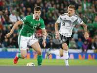 Press Eye - Belfast - Northern Ireland - 9th September 2019 . UEFA EURO Qualifier Group C at the National Stadium at Windsor Park, Belfast.  Northern Ireland Vs Germany. . Northern Ireland\'s Paddy McNair with Germany\'s Toni Kroos.  . Photo by Jonathan Porter / Press Eye.
