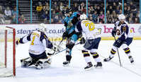 Press Eye - Belfast -  Northern Ireland - 03rd February 2019 - Photo by William Cherry/Presseye. Belfast Giants\' Kyle Baun with Guildford Flames\' Chris Carrozzi during Friday nights Elite Ice Hockey League game at the SSE Arena, Belfast.   Photo by William Cherry/Presseye