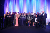 Press Eye - Belfast - Northern Ireland - 6th February 2017 -  . Belfast Telegraph Sports Awards 2016..  Award 1 - Young Team of the Year. Methodist College Belfast 1st XI  Girls Hockey Team  won the Young Team of the Year award sponsored by Subway and presented by Ireland hockey International Eugene Magee and Scott Hayes, Chairman of Subway Northern Ireland..  . Photo by Kelvin Boyes / Press Eye..