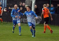 Danske Bank Premiership Play Off Loughshore Hotel Arena, Carrickfergus. Wednesday 9 May 2018. Carrick Rangers FC vs Newry City FC. Newry\'s captain Mark Hughes scored number three for Newry. Mandatory Credit ©INPHO/Freddie Parkinson