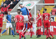 Danske Bank Premiership, Solitude, Belfast 14/4/2018 . Clliftonville vs Glenavon. Clliftonville in action with Glenavon\'s Mark. Griffin. Mandatory Credit ©INPHO/Matt Mackey