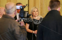 Press Eye Belfast - Northern Ireland 8th October 2018. Sinn Fin Vice-President Michelle O\'Neill a some of her party colleagues talk to the press in the Great Hall in Stormont after the Secretary of State for Northern Ireland Karen Bradley held a day of talks with local parties regarding the issues with the Assembly. . Picture by Jonathan Porter/PressEye.com