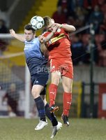 7th August 2018. Danske Bank Irish premier league match between Cliftonville and Institute at Solitude in Belfast.. Cliftonvilles Levi Ives  in action with Institutes Michael McCrudden.  Mandatory Credit: Stephen Hamilton /Inpho