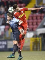 7th August 2018. Danske Bank Irish premier league match between Cliftonville and Institute at Solitude in Belfast.. Cliftonvilles Jay Donnelly  in action with Institutes Ronan Wilson.  Mandatory Credit: Stephen Hamilton /Inpho