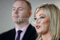 PressEye - Belfast - Northern Ireland - 04th February 2019. Pictured: Chris Hazzard and Michelle O\'Neill speaking to the media at the Europa Hotel, Belfast today following a meeting with British shadow Brexit secretary Keir Starmer MP. . Picture: Philip Magowan / PressEye