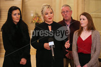 Press Eye - Belfast - Northern Ireland - 8th January 2018. Sinn Fein northern leader Michelle o\'Neill and some of her party colleagues speak to the media at the Great Hall in Stormont, east Belfast, ahead of their meeting with the EU\'s Brexit chief negotiator Michel Barnier in Brussels tomorrow. . Picture by Jonathan Porter/PressEye