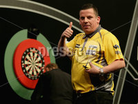 Press Eye - Northern Ireland - 20th April 2017 - Photographer - © Matt Mackey / Presseye.com. Betway Premier League Darts, Night 12, The SSE Arena, Belfast.. Dave Chisnall v Adrian Lewis. Dave Chisnall celebrates winning.