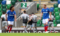 Danske Bank Premiership, Windsor Park, Belfast 10/8/2019. Linfield vs Institute. Institute\'s Joseph McCready celebrates his goal . Mandatory Credit INPHO/John McVitty