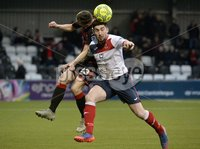 . Danske Bank Premiership, Seaview, Belfast 13/1/2018. Crusaders vs Ards. Crusaders Gavin Whyte  in action with Ards Michael Ruddy. Mandatory Credit ©INPHO/Stephen Hamilton