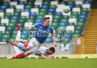 Danske Bank Premiership Play-off , Windsor Park, Belfast  7/4/2018. Linfield FC vs Ballymena United. Linfield\'s  Andrew Waterworth  and  Jim Ervin   of Ballymena United.. Mandatory Credit @INPHO/Brian Little