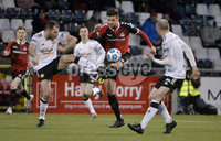 12th December  2020. Danske Bank Irish premier league match between Crusaders and Portadown at Seaview Belfast. Crusaders Adam Leckey  in action with Portadowns  Barney McKeown. Mandatory Credit   Inpho/Stephen Hamilton