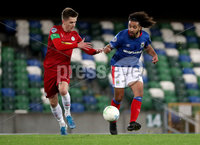 Press Eye - Belfast, Northern Ireland - 29th October 2019 - Photo by William Cherry/Presseye. Linfield\'s Bastien Hery with Cliftonville\'s Ryan Curran  during Tuesday nights BetMcLean League Cup game at Windsor Park, Belfast.     Photo by William Cherry/Presseye