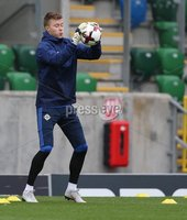 PressEye-Northern Ireland- 10th September  2018-Picture by Brian Little/ PressEye. Northern Ireland  Bailey Peacock-Farrell     training ahead of Tuesday Friendly International Challenge match against Israel  at the National Football Stadium at Windsor Park.. Picture by Brian Little/PressEye .