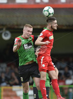 4th August 2018. Danske Bank Irish premier league match between Glentoran and Cliftonville at The Oval in Belfast.. Glentorans Calum Birney  in action with Cliftonvilles Jay Donnelly.  Mandatory Credit: Stephen Hamilton /Inpho