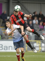 6th August 2018. Danske Bank Irish premier league match between Crusaders and Ards at Seaview.. Crusaders Colin Coates  in action with Ards Sean Noble .  Mandatory Credit: Stephen Hamilton /Inpho