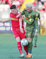 UEFA Europa League First Qualifying Round First Leg, Solitude, Belfast 12/7/2018. Cliftonville vs Nordsjaelland. Cliftonville\'s Ryan Curran with Nordsjaelland\'s Mathias Jensen. Mandatory Credit ©INPHO/Jonathan Porter