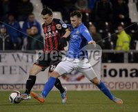 Press Eye - Northern Ireland -12th February 2016. Photograph:Presseye /Stephen Hamilton. Danske Bank Irish premier league match betweeen Crusaders and Glenavon at Seaview Belfast.. Crusaders  Paul Heatley  in action with Glenavons Conor Dillon