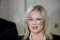 PressEye - Belfast - Northern Ireland - 04th February 2019. Pictured: Michelle O\'Neill speaking to the media at the Europa Hotel, Belfast today following a meeting with British shadow Brexit secretary Keir Starmer MP. . Picture: Philip Magowan / PressEye