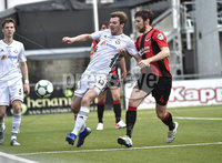 11th July 2019. Europa league First round qualifying match between Crusaders and B36 Torshavn at Seaview Belfast.. Crusaders Philip Lowry  in action with Torshavns Erling Jacobsen. Mandatory Credit / Stephen Hamilton/Inpho