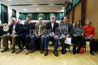 Press Eye - Belfast - Northern Ireland - 10th February 2019 - . Speakers John Finucane and Gerry Adams TD are pictured at the event at St Marys University College Belfast entitled Pat Finucane 30th Anniversary, A Community Reflects. The event was organised by Feile an Phobail.. Photo by Kelvin Boyes / Press Eye
