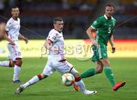 Press Eye - Belfast -  Northern Ireland - 11th June 2019 - Photo by William Cherry/Presseye. Belarus\' Yuri Kovalev with Northern Ireland\'s Jonny Evans during Tuesday nights UEFA EURO 2020 Qualifier at the Borisov Arena, Belarus.      Photo by William Cherry/Presseye