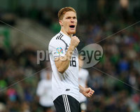 Press Eye - Belfast - Northern Ireland - 9th September 2019 . UEFA EURO Qualifier Group C at the National Stadium at Windsor Park, Belfast.  Northern Ireland Vs Germany. . Germany\'s Marcel Halstenberg celebrates after scoring. . Photo by Jonathan Porter / Press Eye.