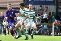 © Press Eye.com 12th August 2017. NIFL Championship 1. Lurgan Celtic v Newry City.. Celtic\'s Conor McAnallen. and Newry\'s Jimmy Walker. during Saturday\'s match at Knockramer Park. Photo by TONY HENDRON/Presseye.com
