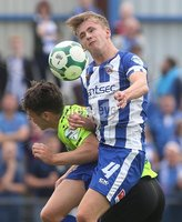 Danske Bank Premiership, Showgrounds, Coleraine 4/8/2018. Coleraine vs Warrenpoint. Coleraine\'s Ciaran Harkin and Warrenpoint\'s Deane Watters. Mandatory Credit ©INPHO/Lorcan Doherty
