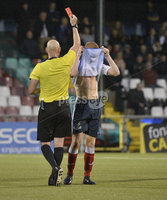 6th August 2018. Danske Bank Irish premier league match between Crusaders and Ards at Seaview..  Ards Joshua Kelly sees red for a second yellow card.  Mandatory Credit: Stephen Hamilton /Inpho