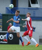 Danske Bank Premiership, Mourneview Park, Lurgan 4/8/2018. Glenavon FC vs  Linfield FC. Glenavon\'s  Josh Daniels   and   Kirk Millar  of Linfield.. Mandatory Credit @INPHO/Brian Little.