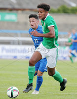Press Eye Belfast - Northern Ireland 7th September 2018. U19 International Challenge Match - Northern Ireland Vs Slovakia at The Showgrounds, Newry.. Northern Ireland\'s Tyrone Lewthwaite with Slovakia\'s Mario Strachen .. Picture by Jonathan Porter/PressEye.com