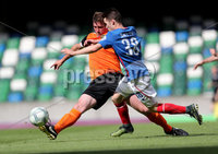 Press Eye - Belfast -  Northern Ireland - 12th August 2017 - Photo by William Cherry/Presseye. Linfield\'s Paul Smyth with Carrick\'s Denver Gage during Saturdays Danske Bank Premiership game at the National Stadium at Windsor Park, Belfast.
