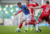 Danske Bank Premiership, Windsor Park, Belfast 9/2/2019. Linfield vs Coleraine. Linfield\'s Jamie Mulgrew with Coleraine\'s Dean. Shiels. Mandatory Credit INPHO/Matt Mackey