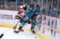 Press Eye - Belfast -  Northern Ireland - 11th January 2019 - Photo by William Cherry/Presseye. Belfast Giants Jonathan Ferland with HK Gomels Nikolai Suslo during Friday nights Continental Cup Final game at the SSE Area, Belfast.   Photo by William Cherry/Presseye