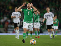 Press Eye - Belfast - Northern Ireland - 9th September 2019 - Picture Matt Mackey / Press Eye.. EURO qualifier 2020 match at the National Stadium at Windsor Park, Belfast. Northern Ireland Vs Germany.. Northern Ireland\'s Conor Washington is ruled offside .