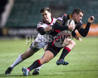 Guinness PRO14, Rodney Parade, Newport, Wales 1/12/2017. Dragons vs Ulster. Dragons\' Adam Warren is tackled by Ulster\'s Louis Ludik. Mandatory Credit ©INPHO/Bob Bradford
