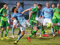 Bet McLean Cup Semi-Final, Showgrounds, Co. Antrim 10/2/2018. Ballymena United vs Cliftonville. Ballymena\'s Steven McCullough with Cliftonville\'s Chris Curran. Mandatory Credit ©INPHO/Jonathan Porter