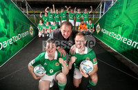 Press Eye - Belfast -  Northern Ireland - 07th November 2018 - Photo by William Cherry/Presseye. Ruth Boyle and Matthew Gallagher from Street Soccer NI team are pictured alongside Gerry Armstrong at a farewell reception ahead of their week-long trip to Mexico to represent Northern Ireland in the Homeless World Cup street football tournament. The competition brings together more than 500 players from over 50 countries who have faced homelessness and social marginalisation and helps ensure opportunities for the players to positively transform their lives upon return. Street Soccer NI is being funded by the Department for Communities, as part of the Northern Ireland Executives Together: Building a United Community (T:BUC) Strategy.