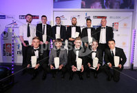 Press Eye - Belfast - Northern Ireland - 7th May 2018  - . NI Football Awards at the Crowne Plaza Hotel.. UHLSPORT PREMIERSHIP TEAM OF THE YEAR  . Brian Hutchinson from Uhlsport with the Premiership Team of the Year. Photo by Kelvin Boyes / Press Eye .