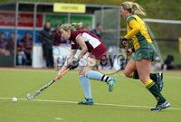 ©Press Eye Ltd Northern Ireland - 6th May 2012 - Mandatory Credit - Picture by Matt Mackey/presseye.com. Loreto v Railway Union in the Irish Hockey League final at Lisnagarvey hockey club.. Loreto\'s Nikki Keegan in action with Railway\'s Eimear Dolan.